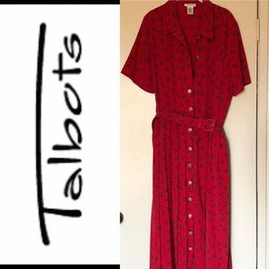 Plus Size Talbots red belted anchor dress size 18